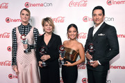 (L-R) Mackenzie Davis, Linda Hamilton, Natalia Reyes, and Gabriel Luna, recipients of the CinemaCon Ensemble award, attends The CinemaCon Big Screen Achievement Awards Brought to you by The Coca-Cola Company at OMNIA Nightclub at Caesars Palace during CinemaCon, the official convention of the National Association of Theatre Owners, on April 4, 2019 in Las Vegas, Nevada.