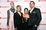 (L-R) Mackenzie Davis, Linda Hamilton, Natalia Reyes, and Gabriel Luna attend The CinemaCon Big Screen Achievement Awards Brought to you by The Coca-Cola Company at OMNIA Nightclub at Caesars Palace during CinemaCon, the official convention of the National Association of Theatre Owners, on April 4, 2019 in Las Vegas, Nevada.