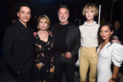 (L-R) Gabriel Luna, Linda Hamilton, Arnold Schwarzenegger, Mackenzie Davis and Natalia Reyes at CinemaCon 2019- Paramount Pictures Invites You to an Exclusive Presentation Highlighting Its Upcoming Slate at The Colosseum at Caesars Palace during CinemaCon, the official convention of the National Association of Theatre Owners, on April 4, 2019 in Las Vegas, Nevada.