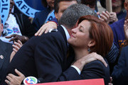 Christine Quinn (R), New York City Council Speaker and former mayoral hopeful, hugs Democratic Party nominee Bill de Blasio, at a news conference where Quinn endorsed de Blasio outside City Hall on September 17, 2013 in New York City. De Blasio will face Republican Joseph Lhota in the general mayoral election November 5, 2013, with the winner succeeding current Mayor Michael Bloomberg.