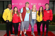 EJ Scott and Deborah Ann Woll (C) and AmeriCorps members attend City Year Los Angeles' Spring Break: Destination Education at Sony Studios on May 04, 2019 in Los Angeles, California.