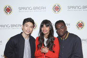 (L-R) Manny Jacinto, Jameela Jamil and William Jackson Harper attend City Year Los Angeles' Spring Break: Destination Education at Sony Studios on April 28, 2018 in Los Angeles, California.
