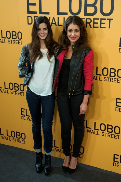 'The Wolf of Wall Street' Premieres in Madrid [the wolf of wall street,cinema,yellow,fashion,youth,premiere,outerwear,event,footwear,jeans,fashion design,long hair,actresses,clara lago,r,hiba abouk,palafox,madrid,l,madrid premiere]