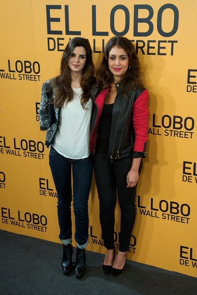 'The Wolf of Wall Street' Premieres in Madrid [the wolf of wall street,cinema,yellow,fashion,premiere,outerwear,footwear,fashion design,event,jeans,long hair,jacket,actresses,clara lago,r,hiba abouk,palafox,madrid,l,madrid premiere]