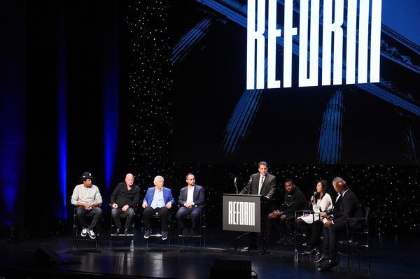 Meek Mill And Michael Rubin And CEO Van Jones Launch The Reform Alliance With Founding Partners [michael rubin,ceo,meek mill,robert kraft,dan slepian,michael novogratz,shawn ``jay-z carter,clara wu tsai,dan loeb,van jones launch the reform alliance with founding partners,stage,performance,event,heater,performing arts,musical theatre,design,talent show,convention,performance art]