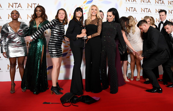 National Television Awards 2020 - Winners Room [strictly come dancing,best talent show,red carpet,carpet,event,premiere,flooring,fashion,dress,claudia winkleman,tess daly,michelle visage,room,winners room,the o2 arena,england,national television awards,claudia winkleman,motsi mabuse,michelle visage,tess daly,phillip schofield,oti mabuse,strictly come dancing,celebrity,national television awards,graziano di prima]