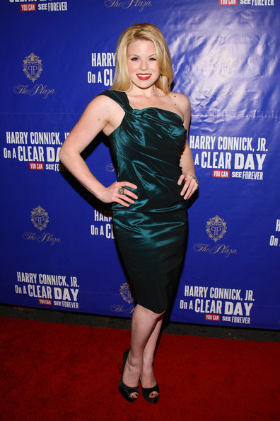 Megan Hilty wore an emerald one-shoulder cocktail dress to the Broadway opening of 'On a Clear Day You Can See Forever.'
