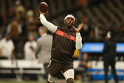 Tyrod Taylor #5 of the Cleveland Browns warms up before action against the New Orleans Saints at Mercedes-Benz Superdome on September 16, 2018 in New Orleans, Louisiana.