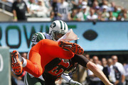 Quarterback Josh McCown #13 of the Cleveland Browns fumbles at the goal line after being hit by Calvin Pryor #25 (not pictured) of the New York Jets as Marcus Gilchrist #21 follows up on the play during the first quarter at MetLife Stadium on September 13, 2015 in East Rutherford, New Jersey.