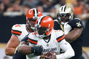 Sheldon Rankins #98 of the New Orleans Saints sacks Tyrod Taylor #5 of the Cleveland Browns during the second quarter at Mercedes-Benz Superdome on September 16, 2018 in New Orleans, Louisiana.