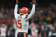 Tyrod Taylor #5 of the Cleveland Browns celebrates after his team scores a touchdown during the fourth quarter against the New Orleans Saints at Mercedes-Benz Superdome on September 16, 2018 in New Orleans, Louisiana.