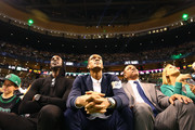 Former Boston Celtics players Kevin Garnett, Rajon Rondo and former coach Doc Rivers look on during a game between the Boston Celtics and the Cleveland Cavaliers at TD Garden on February 11, 2018 in Boston, Massachusetts. Paul Pierce's jersey will be retired following the game. NOTE TO USER: User expressly acknowledges and agrees that, by downloading and or using this photograph, User is consenting to the terms and conditions of the Getty Images License Agreement.