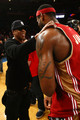 Hip Hop artist Jay-Z shakes hands with LeBron James #23 of the Cleveland Cavaliers after defeating the New York Knicks at Madison Square Garden November 6, 2009 in New York City. NOTE TO USER: User expressly acknowledges and agrees that, by downloading and/or using this Photograph, User is consenting to the terms and conditions of the Getty Images License Agreement.