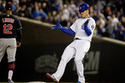 Anthony Rizzo #44 of the Chicago Cubs reacts after hitting a double against the Cleveland Indians during the seventh inning at Wrigley Field on May 23, 2018 in Chicago, Illinois. The Cleveland Indians won 1-0.