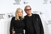 "Actor Peter Fonda and his wife Margaret DeVogelaere attend the Opening Night of the 2017 Tribeca Film Festival and the world premiere of ""Clive Davis: The Soundtrack Of Our Lives"" at Radio City Music Hall on April 19, 2017, in New York City. / AFP PHOTO / ANGELA WEISS"