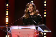 Cecile de France speaks on stage at the closing ceremony during the 68th Berlinale International Film Festival Berlin at Berlinale Palast on February 24, 2018 in Berlin, Germany.