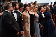 "Official Jury Members Guillermo Del Toro, Jake Gyllenhaal, Joel Coen, Sophie Marceau, Rossy de Palma, Sienna Miller, Xavier Dolan, Ethan Coen and Rokia Traore attend the closing ceremony and Premiere of ""La Glace Et Le Ciel"" (""Ice And The Sky"") during the 68th annual Cannes Film Festival on May 24, 2015 in Cannes, France."