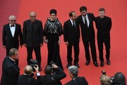 (FromL) Iranian actor Farid Sajjadihosseini, Iranian actor Babak Karimi, Iranian actress Taraneh Alidoosti, Iranian director Asghar Farhadi, Iranian actor Shahab Hosseini and French producer and distributor Alexandre Mallet-Guy pose as they arrive on May 22, 2016 for the closing ceremony of the 69th Cannes Film Festival in Cannes, southern France.  / AFP / François Xavier MARIT