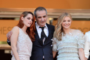 "(L-R) Actress Kristen Stewart, director Olivier Assayas and Chloe Grace Moretz attend the ""Clouds Of Sils Maria"" premiere during the 67th Annual Cannes Film Festival on May 23, 2014 in Cannes, France."