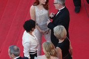 "(L-R) Director Olivier Assayas, actresses Chloe Grace Moretz, Juliette Binoche, Kristen Stewart and Thierry Fremaux attend the ""Clouds Of Sils Maria"" premiere during the 67th Annual Cannes Film Festival on May 23, 2014 in Cannes, France."
