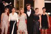 """(L-R) Kristen Stewart, Juliette Binoche, Chloe Grace Moretz, Lars Eidinger, Nora Von Waldstatten, and Claire Tran attend the """"Clouds Of Sils Maria"""" premiere during the 67th Annual Cannes Film Festival on May 23, 2014 in Cannes, France."""