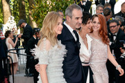 (L-R) Actress Chloe Grace Moretz, director Olivier Assayas, actresses Juliette Binoche and Kristen Stewart attend the 'Clouds Of Sils Maria' premiere during the 67th Annual Cannes Film Festival on May 23, 2014 in Cannes, France.