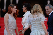 (L-R) Actresses Kristen Stewart, Juliette Binoche, Chloe Grace Moretz and director Olivier Assayas attend the 'Clouds Of Sils Maria' premiere during the 67th Annual Cannes Film Festival on May 23, 2014 in Cannes, France.