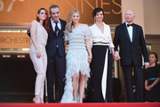 "(L-R) Actress Kristen Stewart, director Olivier Assayas, actress Chloe Grace Moretz, actress Juliette Binoche and Gilles Jacob attend the ""Clouds Of Sils Maria"" premiere during the 67th Annual Cannes Film Festival on May 23, 2014 in Cannes, France."