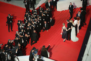 "(L-R) Olivier Assayas, Kristen Stewart, Juliette Binoche, Chloe Grace Moretz, Lars Eidinger, Nora Von Waldstatten, and Claire Tran attend the ""Clouds Of Sils Maria"" premiere during the 67th Annual Cannes Film Festival on May 23, 2014 in Cannes, France."