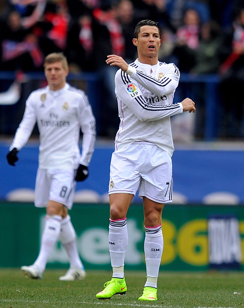Cristiano Ronaldo of Real Madrid reacts after Club Atletico de Madrid scored their opening goal during the La Liga match between Club Atletico de Madrid and Real Madrid at Vicente Calderon Stadium on February 7, 2015 in Madrid, Spain.