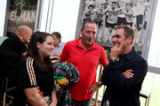 (L-R) Sophie Bein, Uwe Bein and Philipp Lahm are seen during the Club Of Former National Players Meeting at BayArena on June 8, 2018 in Leverkusen, Germany.