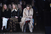 (L-R) Tonne Goodman, Virginia Smith, Anna Wintour attends the Coach Fall 2018 Runway Show at Basketball City on February 13, 2018 in New York City.