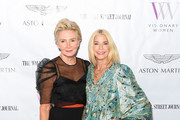 Shelley Reid and Candace Bushnell attend cocktails and conversation with Candace Bushnell: Is The Sex In The City? on October 02, 2019 in Los Angeles, California.