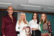 """(L-R) Sir John, Christie Brinkley, Ashley Graham, and Leah Wyar attend Cocktails and a Conversation with the Stars of Lifetime's """"American Beauty Star"""" featuring host and executive producer Ashley Graham, mentor Sir John and judges Christie Brinkley and Leah Wyar on January 17, 2019 in New York City."""