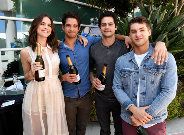 Comic-Con International 2017 - 'Teen Wolf' Backstage Photo Op [teen wolf,event,drink,tourism,leisure,distilled beverage,wine,liqueur,party,actors,cody christian,shelley hennig,tyler posey,dylan obrien,l-r,san diego convention center,comic-con international,season]