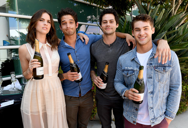 Comic-Con International 2017 - 'Teen Wolf' Backstage Photo Op [teen wolf,social group,event,fun,party,leisure,drink,tourism,distilled beverage,wine,actors,cody christian,shelley hennig,tyler posey,dylan obrien,l-r,san diego convention center,comic-con international,season]