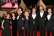 "Producer Ewa Puszczynska, producer Tanya Seghatchian, actor Borys Szyc, director Pawel Pawlikowski, actor Tomasz Kot and guest (R) attend the screening of ""Cold War (Zimna Wojna)"" during the 71st annual Cannes Film Festival at Palais des Festivals on May 10, 2018 in Cannes, France."