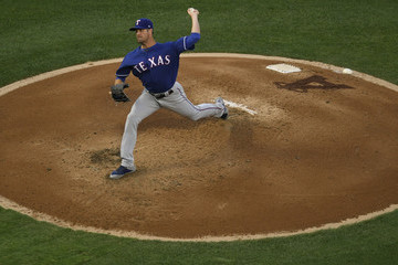 Cole Hamels Texas Rangers vs. Los Angeles Angels Of Anaheim