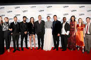"(L-R) Eleanor Tomlinson, Denise Gough, Jake Graf, Ray Panthaki, guest, Wash Westmoreland, Keira Knightley, Dominic West, Johnny Palmer, Aiysha Hart, Shannon Tarbet and Dickie Beau attend the UK Premiere of ""Colette"" and BFI Patrons gala during the 62nd BFI London Film Festival on October 11, 2018 in London, England."