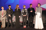 "(L-R) Dickie Beau, Ray Panthaki, Eleanor Tomlinson, Denise Gough, Dominic West and Keira Knightley on stage at the UK Premiere of ""Colette"" and BFI Patrons gala during the 62nd BFI London Film Festival on October 11, 2018 in London, England."