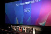 "Cast and crew on stage at the UK Premiere of ""Colette"" and BFI Patrons gala during the 62nd BFI London Film Festival on October 11, 2018 in London, England."