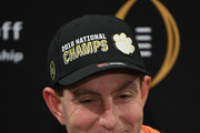 Head coach Dabo Swinney of the Clemson Tigers speaks to the media during the press conference after his teams 44-16 win against the Alabama Crimson Tide in the CFP National Championship presented by AT&T at Levi's Stadium on January 7, 2019 in Santa Clara, California.