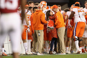 head coach Dabo Swinney of the Clemson Tigers celebrates with his wife Kathleen Bassett after his teams 44-16 win over the Alabama Crimson Tide in the CFP National Championship presented by AT&T at Levi's Stadium on January 7, 2019 in Santa Clara, California.