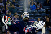 Sergei Bobrovsky spits out a drink of water prior to the start of the third period of the game against the Colorado Avalanche on October 9, 2018 at Nationwide Arena in Columbus, Ohio. Columbus defeated Colorado 5-2.