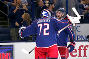 Nick Foligno #71 of the Columbus Blue Jackets congratulates Sergei Bobrovsky #72 after defeating the Colorado Avalanche 5-2 on October 9, 2018 at Nationwide Arena in Columbus, Ohio.