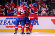 P.K. Subban #76 of the Montreal Canadiens celebrates his second period goal with teammates during the NHL game against the Colorado Avalanche at the Bell Centre on October 18, 2014 in Montreal, Quebec, Canada.  The Canadiens defeated the Avalanche 3-2.