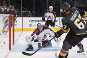 Max Pacioretty #67 of the Vegas Golden Knights scores a goal against Pavel Francouz #39 of the Colorado Avalanche in the second period of their preseason game at T-Mobile Arena on September 24, 2018 in Las Vegas, Nevada.