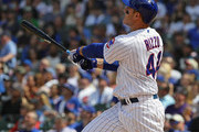 Anthony Rizzo #44 of the Chicago Cubs follows the flight of his solo home run in the 4th inning against the Colorado Rockies at Wrigley Field on May 2, 2018 in Chicago, Illinois.