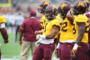 Rodney Smith #1 of the Minnesota Golden Gophers dances during the pre-game against the Colorado State Rams at TCF Bank Stadium on September 24, 2016 in Minneapolis, Minnesota.