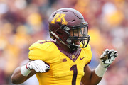 Rodney Smith #1 of the Minnesota Golden Gophers celebrates a touchdown against the Colorado State Rams in the third quarter at TCF Bank Stadium on September 24, 2016 in Minneapolis, Minnesota. Minnesota defeated Colorado State 31-24.